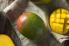Raw Red Green Organic Mango Fruit. Ready to Eat Stock Images