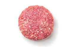 Closeup of some raw burgers on a white background. Raw red meat burger for hamburgers of minced ground beef or pork ready for cooking isolated on white Stock Photography