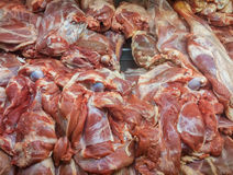 Raw red meat at butcher's counter Royalty Free Stock Images