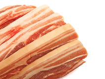 Raw red meat fat bacon isolated on white background. Raw red meat fat bacon Royalty Free Stock Photos