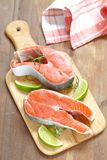 Raw red salmon steaks Stock Images