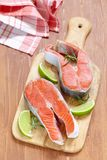 Raw red salmon steaks Royalty Free Stock Image