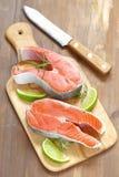 Raw red salmon steaks Royalty Free Stock Photos