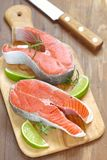 Raw red salmon steaks Stock Photography