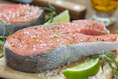 Raw red salmon steaks Royalty Free Stock Photo