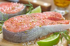 Raw red salmon steaks Stock Photo