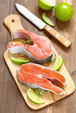 Raw red salmon steaks Royalty Free Stock Images