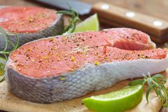 Raw red salmon steaks Royalty Free Stock Photography