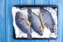 Raw red tilapia fish cooking with herbs, spices, green asparagus, lemon and lime on black stone background, top view. above. Raw red tilapia fish cooking with royalty free stock photo