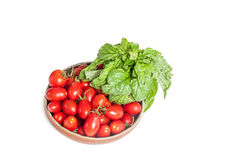 Raw red tomato and basil fresh isolated Royalty Free Stock Images