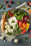 Raw Refreshing Vegetable Crudites Plate. With Ranch Dip Royalty Free Stock Photo