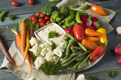 Raw Refreshing Vegetable Crudites Plate. With Ranch Dip Stock Photography