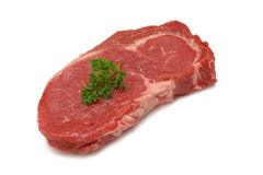 Raw Rib Eye. Steak isolated on white royalty free stock photos