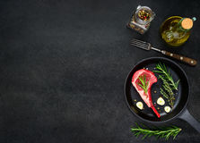 Raw Rib Meat with Seasoning and Copy Space Stock Photo