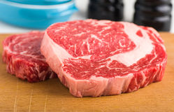 Raw ribeye steak Royalty Free Stock Images