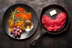 Raw Ribeye Steak Entrecote. Top View Stock Image