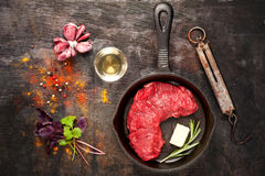 Raw Ribeye steak entrecote. top view Stock Photography