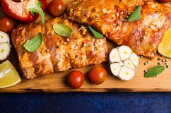 Raw ribs in marinade Royalty Free Stock Photography