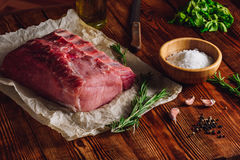 Raw Ribs with Some Spices. Raw Pork Ribs with Some Spices and Sprigs of Rosemary royalty free stock image