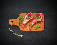 Raw Ribs with Spices and Seasoning Royalty Free Stock Photo