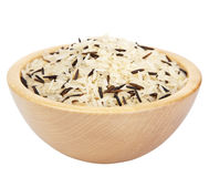 Raw rice in  bowl isolated Stock Photography