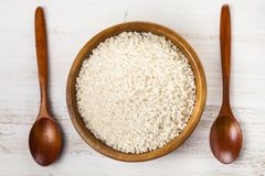Raw rice in a bowl Royalty Free Stock Image