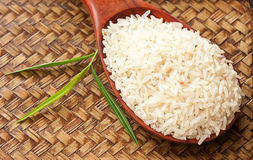 Raw Rice In Spoon Stock Photography