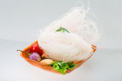 Raw rice noodles royalty free stock images