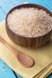 Raw rice in wooden bowl Royalty Free Stock Photo