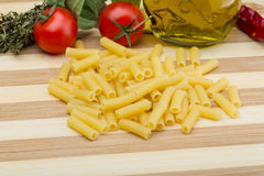 Raw rigatoni pasta Stock Photography