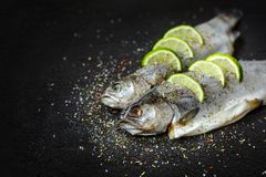 Raw river trout on black stone tray, healthy food, cooking, diet, nutrition concept. Raw fish with aromatic herbs, spices, salt and lime slices. Raw river trout royalty free stock image