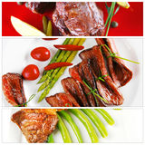 Raw and roast meat Stock Images