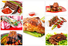 Raw and roast meat Royalty Free Stock Image