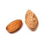 Raw and roasted almonds Stock Photo
