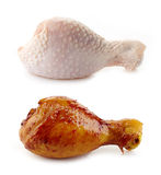 Raw and Roasted chicken legs Royalty Free Stock Photo