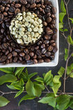Raw and roasted coffee beans Stock Image
