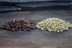 Raw and roasted coffee beans Stock Photos