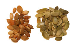 Raw and Roasted Pumpkin Seeds Royalty Free Stock Image