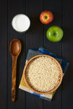 Raw Rolled Oats, Milk and Apples Stock Photos