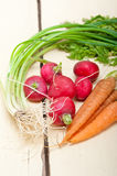 Raw root vegetable. On a rustic white wood table Stock Photography
