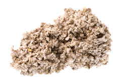 Raw Rubber Crumbs Isolated. Isolated macro image of raw rubber crumbs that will eventually be oven dried to produce technically specified rubber commodity grades stock images