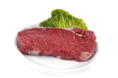 Raw rump steak on plate Royalty Free Stock Photos