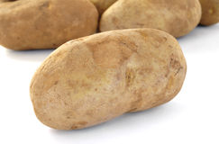Raw Russet Potatoes. Isolated on White Stock Photos