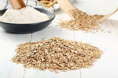 Raw Rye. Rye cereals and flour yallow background stock images