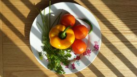 Raw salad on a plate. Yellow pepper tomatoes coriander chilli pepper on a while plate with flowers pattern with a wooden table in the background Royalty Free Stock Photo
