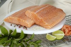 Raw Salmon. Large slabs of pink fresh salmon on white platter, with seasonings nearby, herbs and lime and tomato on rack and white cloth Stock Image