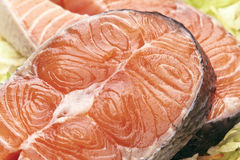 Raw salmon. Wheels raw salmon on salad leaves base stock image