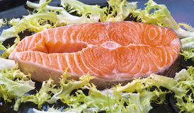 Raw salmon. Wheels black tray, with the leaves of salad stock image