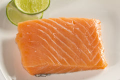 Raw Salmon. A very great steak come up from a fresh Salmon Stock Photography