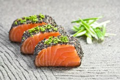 Raw salmon. With pepper and wasabi Stock Photography